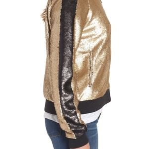 Blank NYC Jackets & Coats - BLANKNYC Sequin Varsity Bomber Jacket In Gold